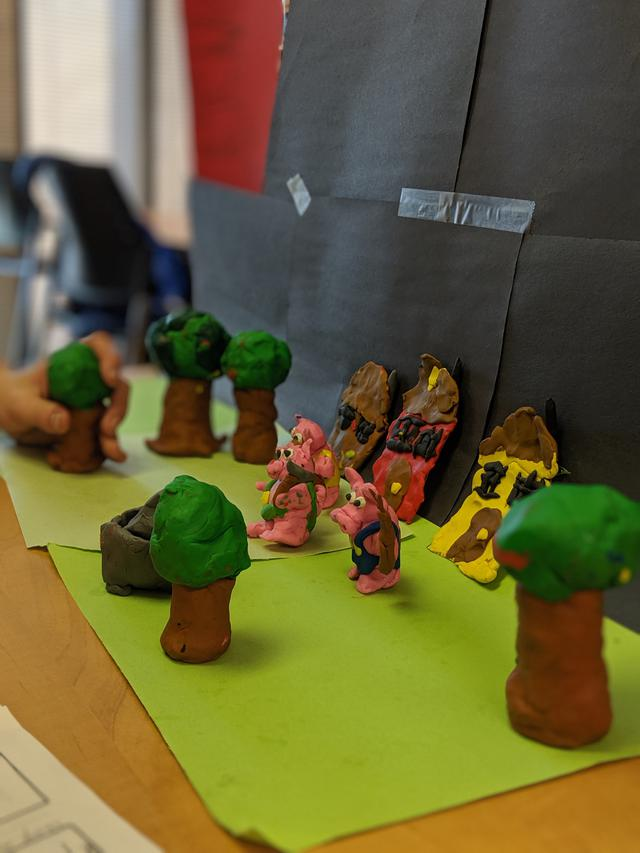 A scene depicting a forest made out of clay